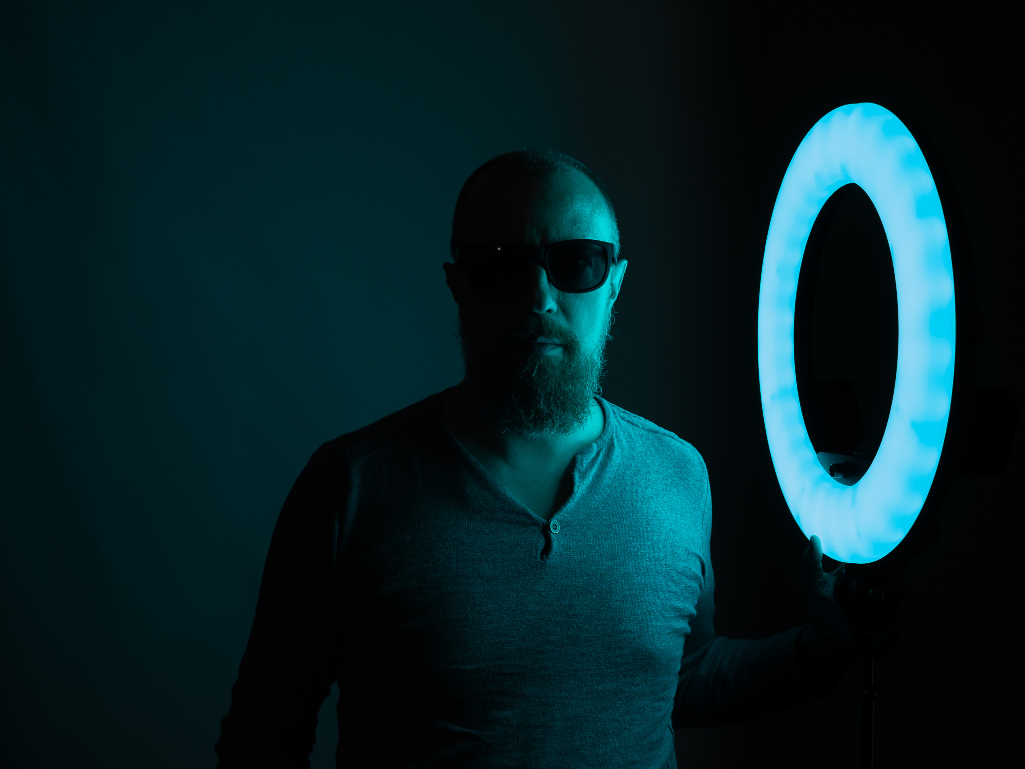 Photo taken with Prismatic Spectra RGB Rainbow LED Ring Light in blue colors