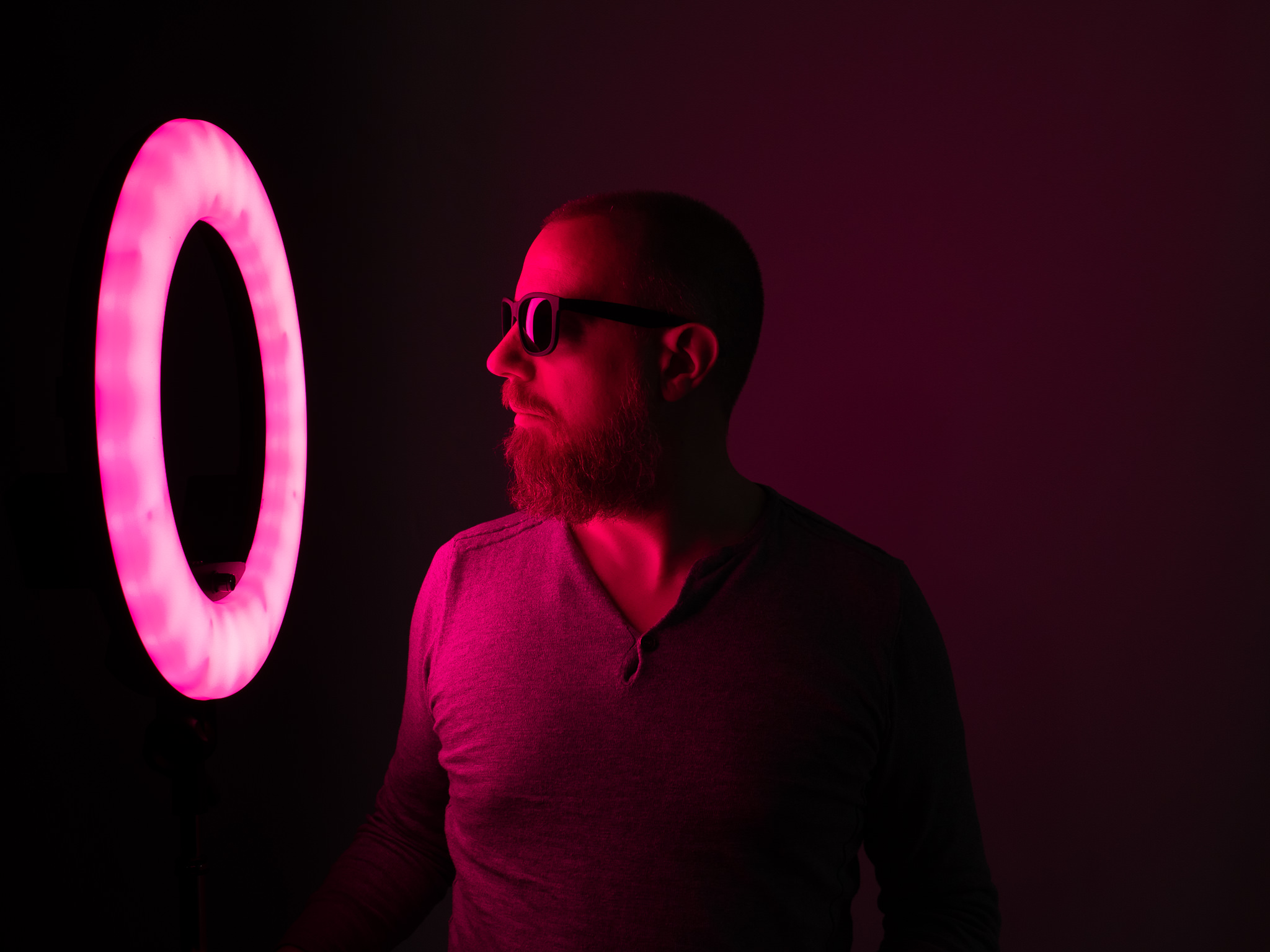 Photo taken with Prismatic Spectra RGB Rainbow LED Ring Light in red / magenta colors