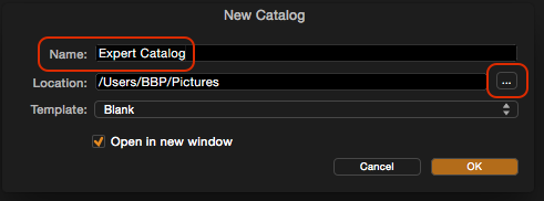 In the New Catalog window, name your catalog and choose a location by clicking the ellipsis