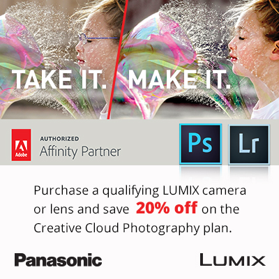 Purchase a qualifying LUMIX camera or lens and save 20% off on the Creative Cloud Photography plan