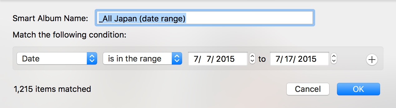 Finding all the photos in a date range