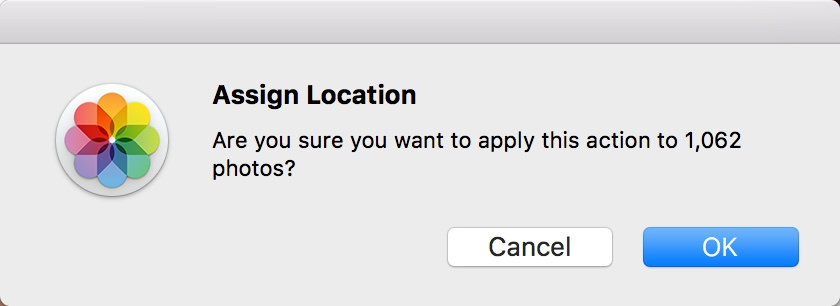 Assign Location: Are you sure you want to apply this action to 1,062 photos?
