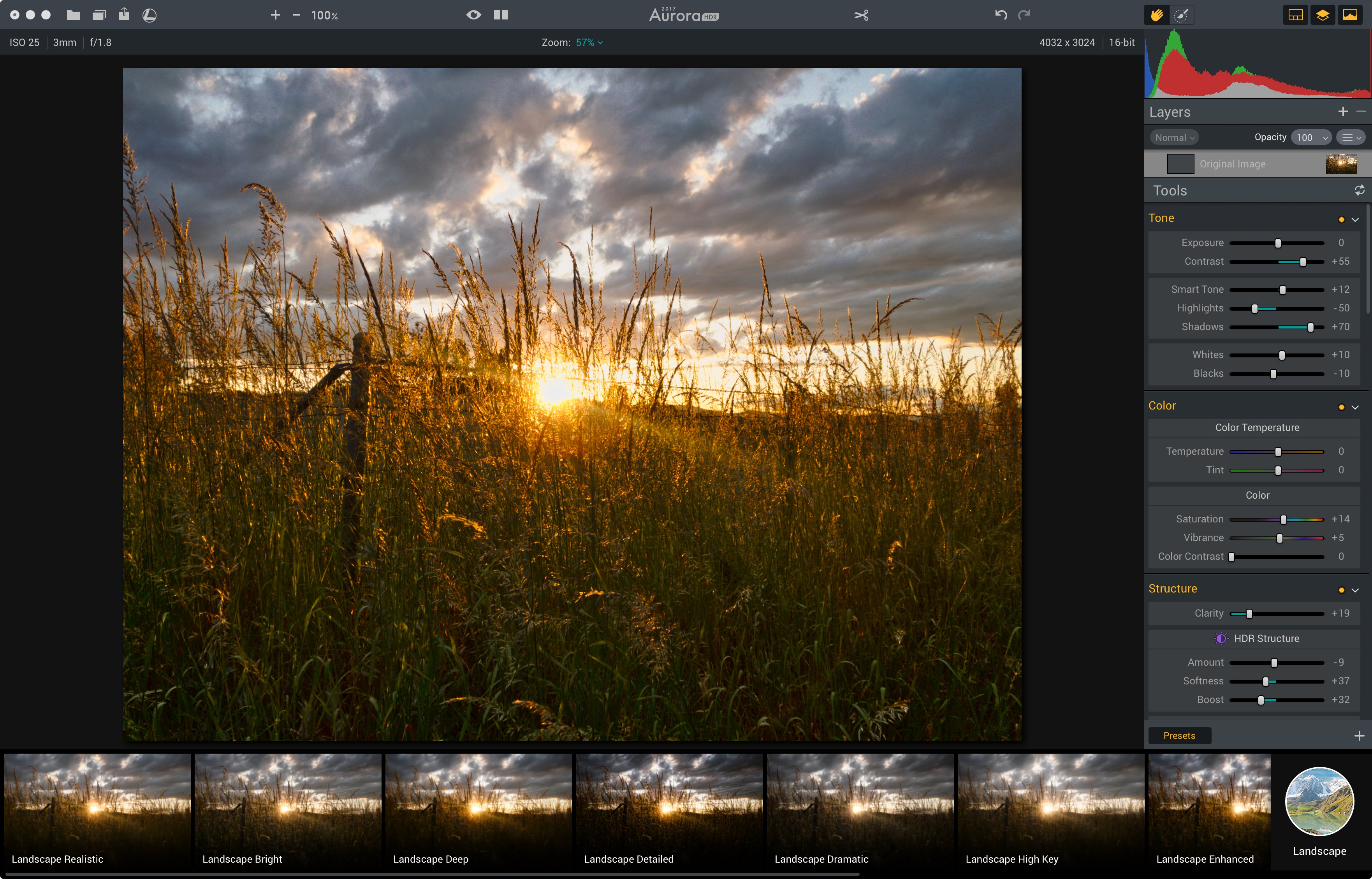 The DNG from Lightroom Mobile now being (re)treated in Aurora HDR 2017