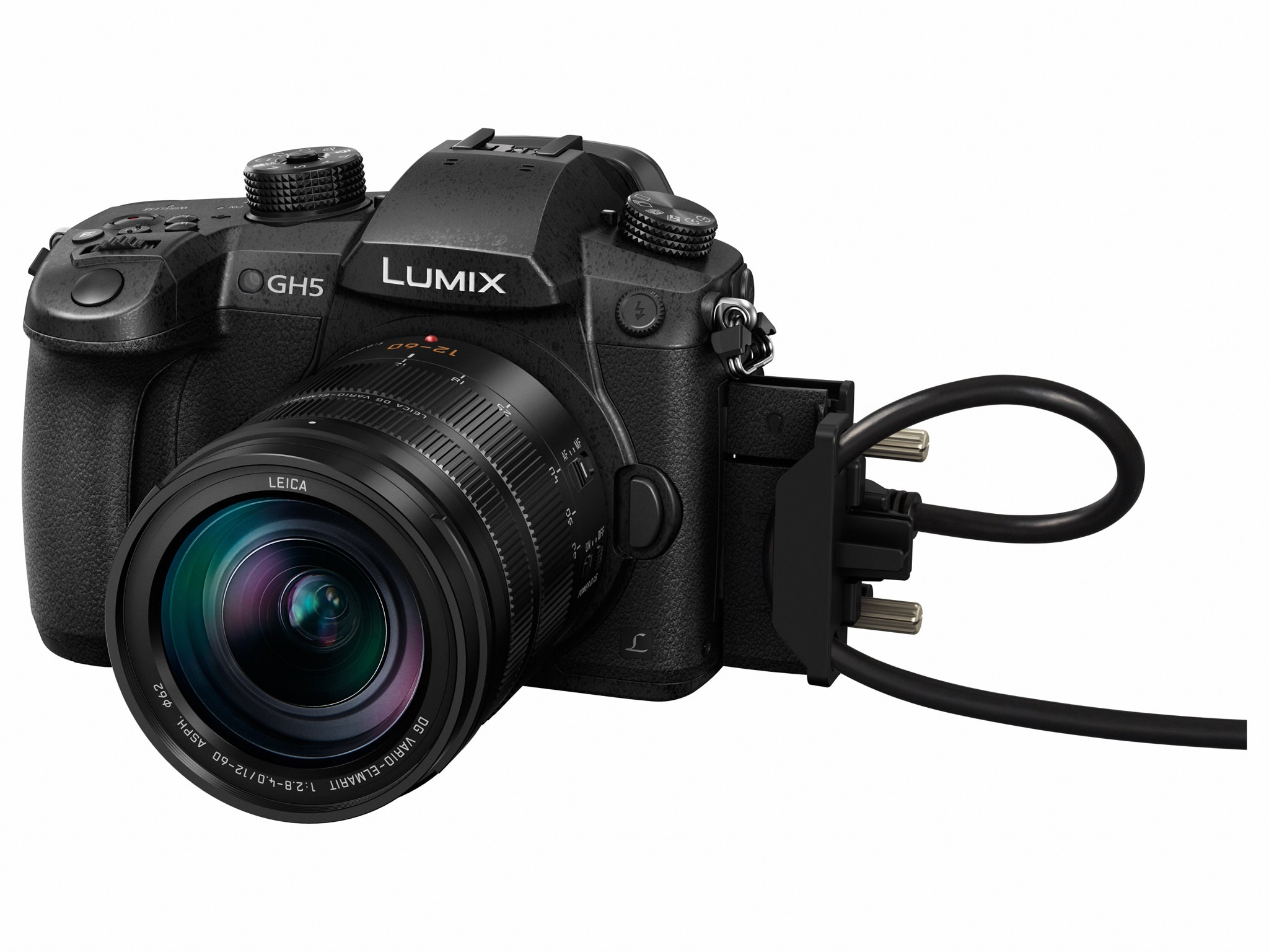 LUMIX GH5 with included screw-in HDMI and USB locking device