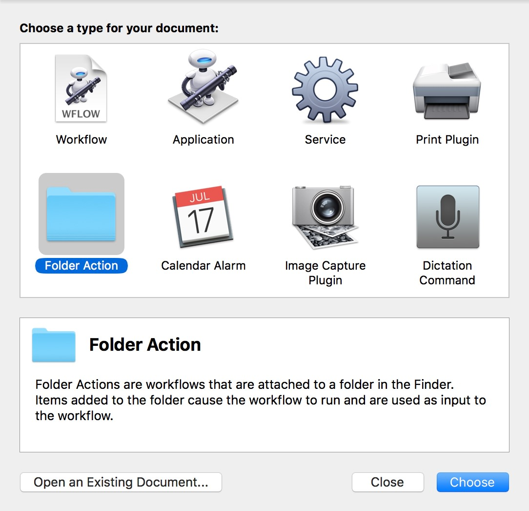 Start by creating a Folder Action in Automator