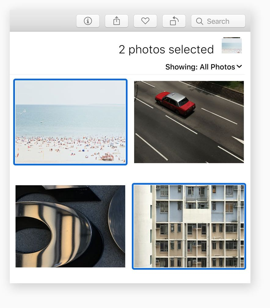 Instantly filter photo collections by your favorite criteria. A new selection counter keeps track of what you've selected, and lets you drag and drop collected images into an album or export them to the desktop. You can also rotate and favorite batches of images right from the toolbar.