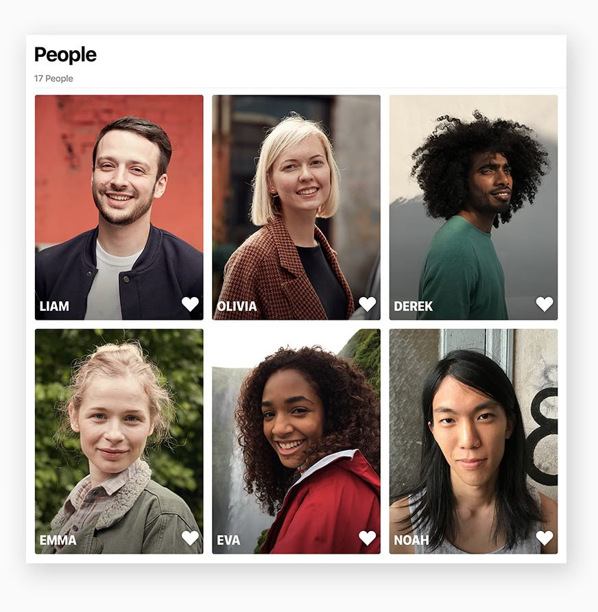 Easily find your favorite subjects in the People album with larger image thumbnails and more accurate groupings. And when you use iCloud Photo Library, your album stays up to date on all your devices.