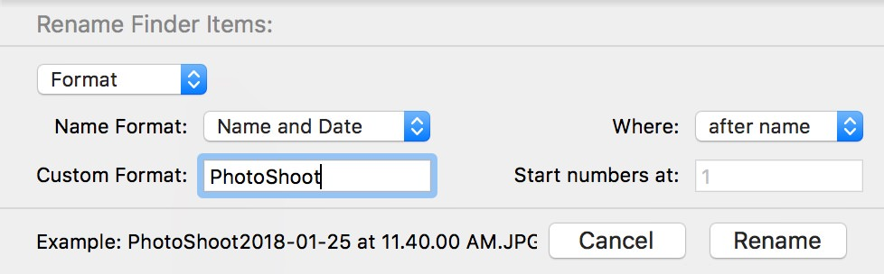 The Finder's own rename function… limited, but awesome to have