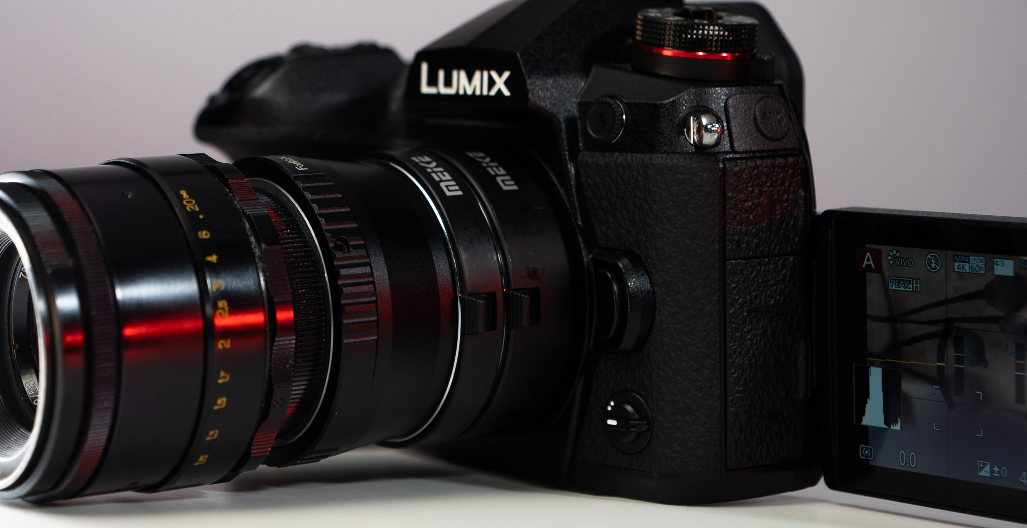 LUMIX G9 with Helios lens and MEIKE macro extension tubes
