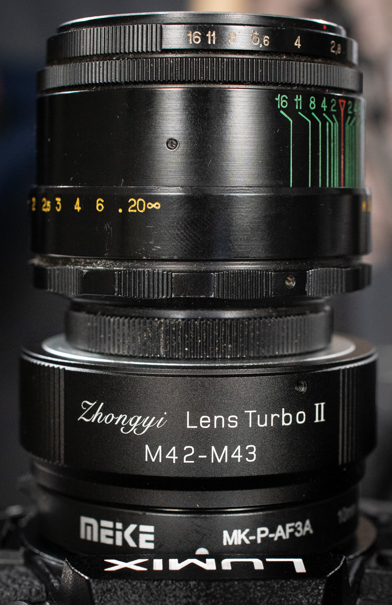 The Russian Helios 44-2 2/58 and Zhongyi M42 to M43 adapter and the Meike macro extension tubes on a LUMIX G9
