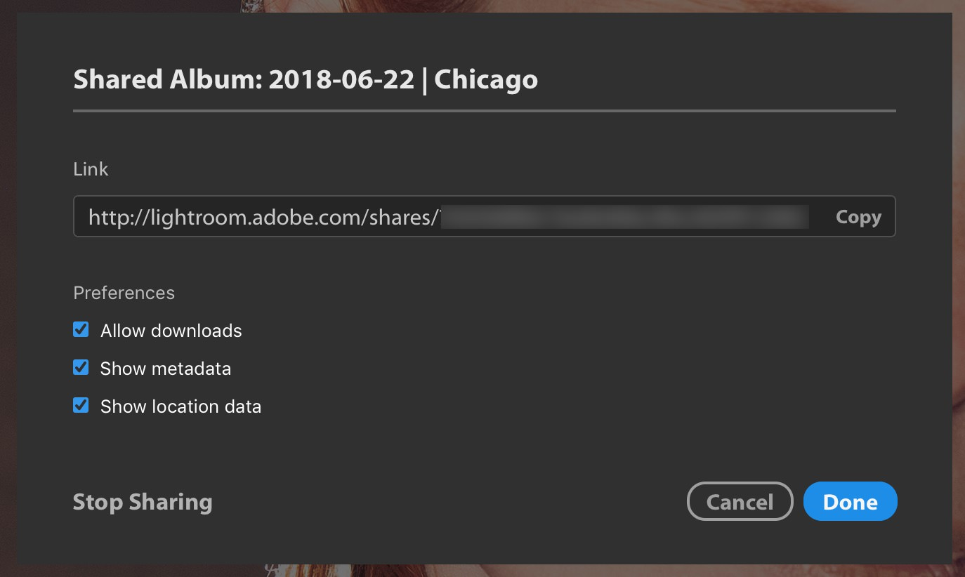 Adobe Lightroom CC June 2018 Update Shared Album features