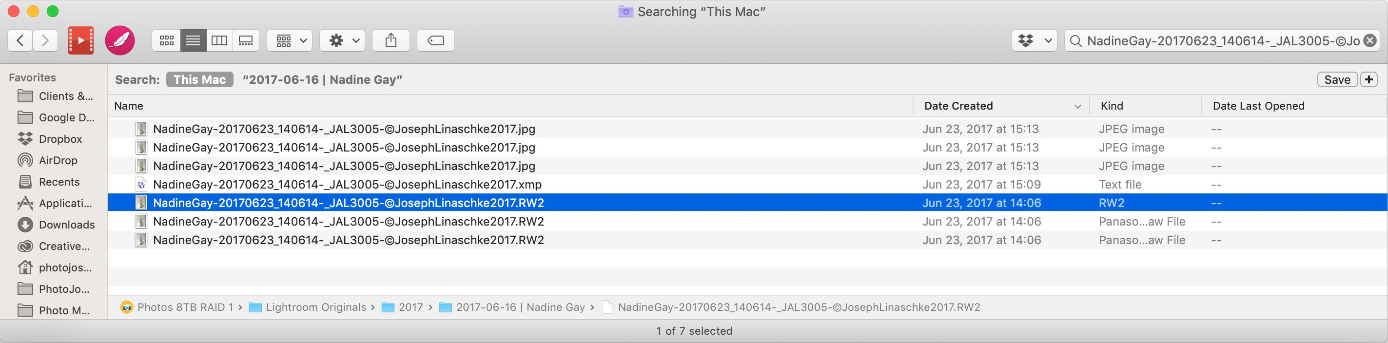 Finder showing search results