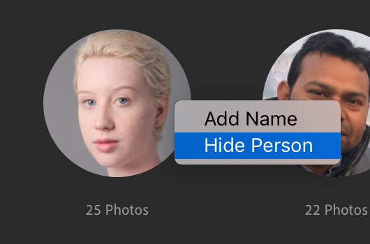Right-click to hide or add an individual person in People view in Lightroom CC