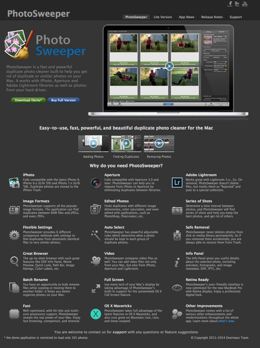 PhotoSweeper home page