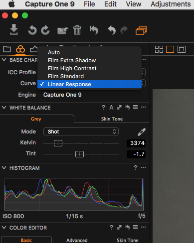Linear Curve in Capture One Pro
