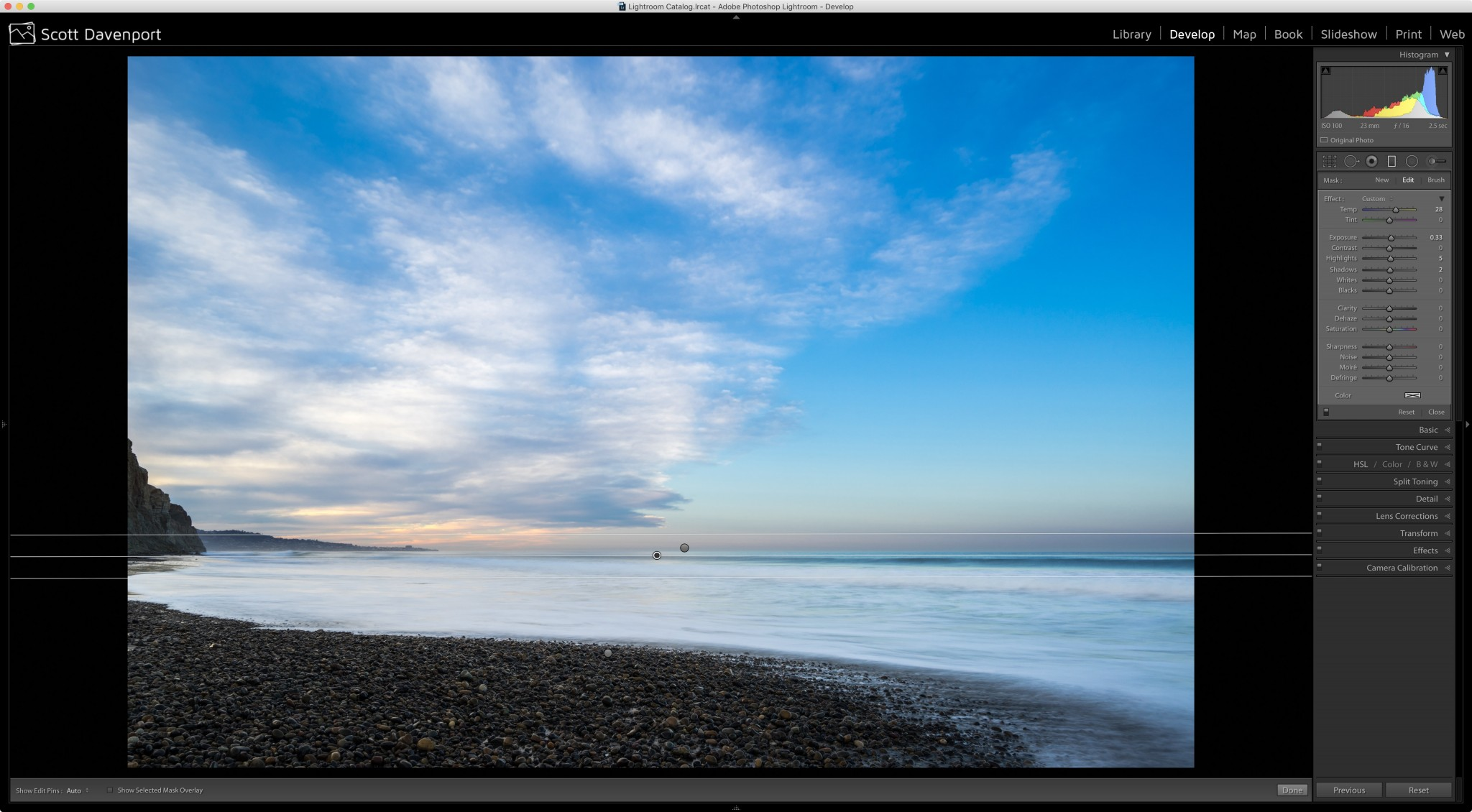 Add warmth to the graduated filter with the Temperature slider